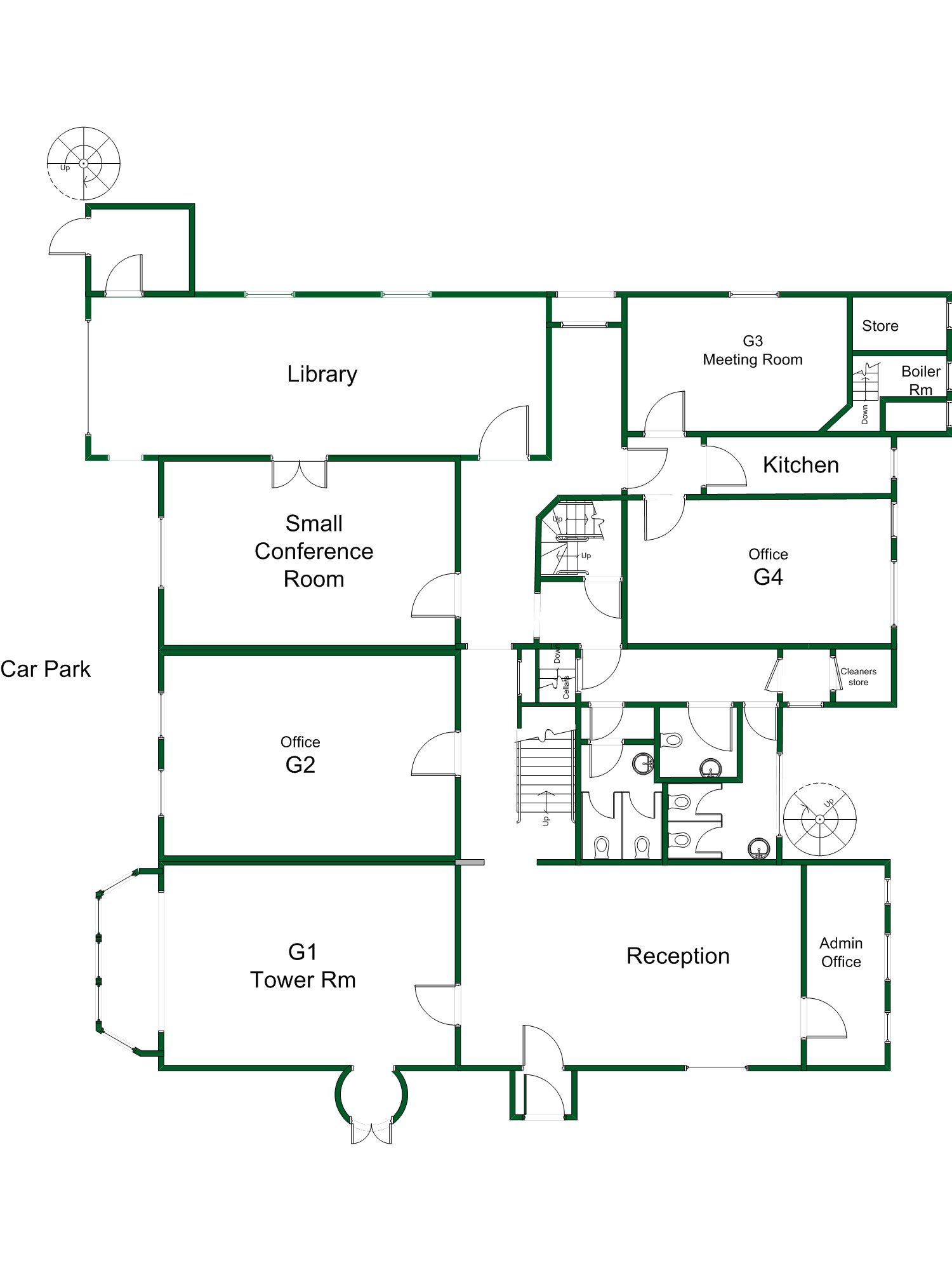 Ground floor plan of the active business centre Ground floor house plan